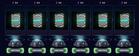 Cartombs! NFT cards staked in R-Planet. Screencap 4/12/2021