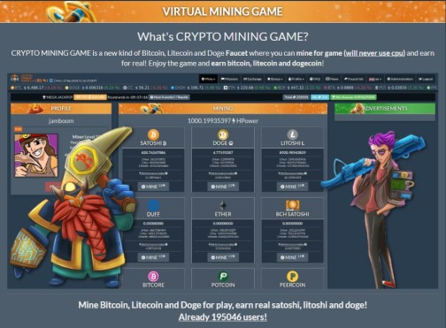 CRYPTO MINING GAME is a new kind of Bitcoin, Litecoin and Doge
