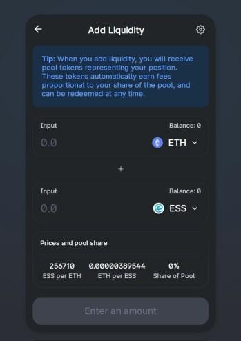 Essentia Ethereum UniSwap Liquidity Pair DeFi