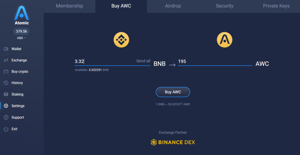 Atomic Wallet Coin (AWC) Staking