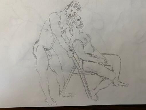 Joe and Ahmad ten minute sketch - Pencil