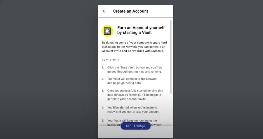 Create an Account, Start a Vault on the SAFE Network