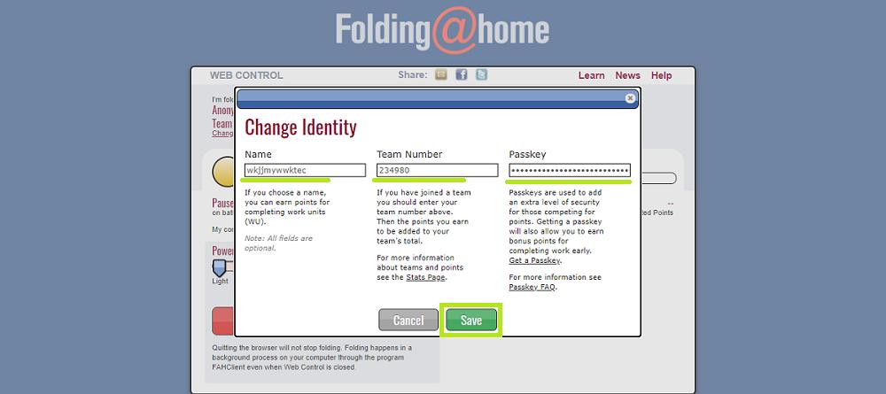 Set up identify - foldingathome - udinxyz