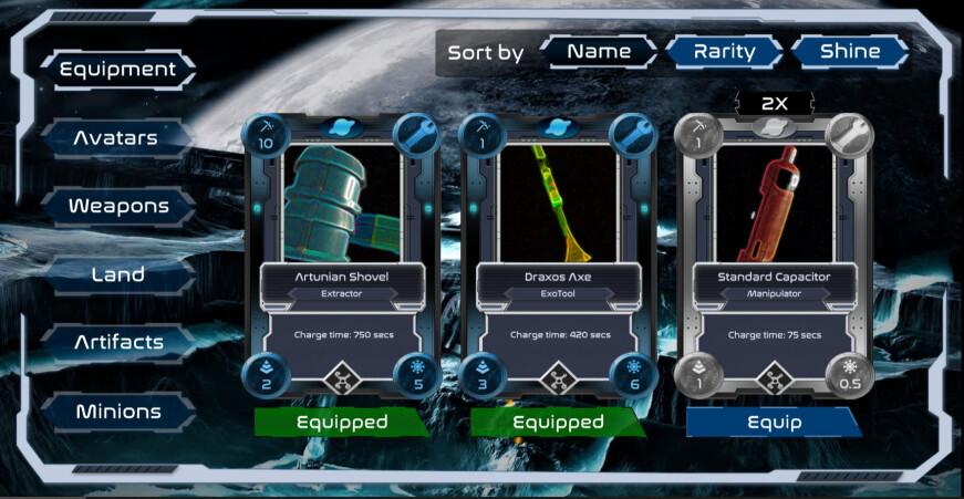 alien worlds equipment screen