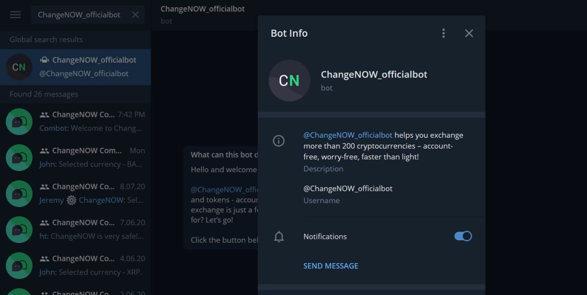 Exchange Crypto Through ChangeNOW Telegram BOT