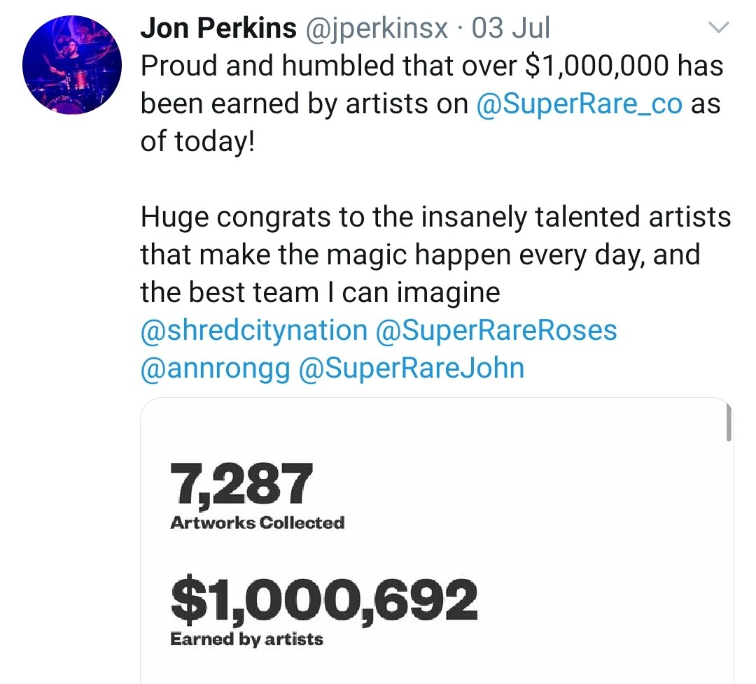 SuperRare $1 Million Sales