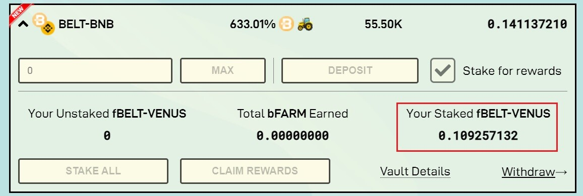 Staking BSC farm Harvest Finance