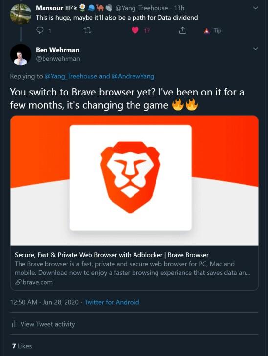 brave browser twitter