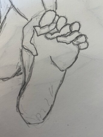 Close up of foot with fingers and toes intertwined - pencil sketch