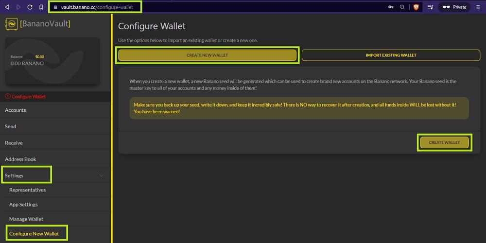 Create New Wallet on BananoVault - udinxyz