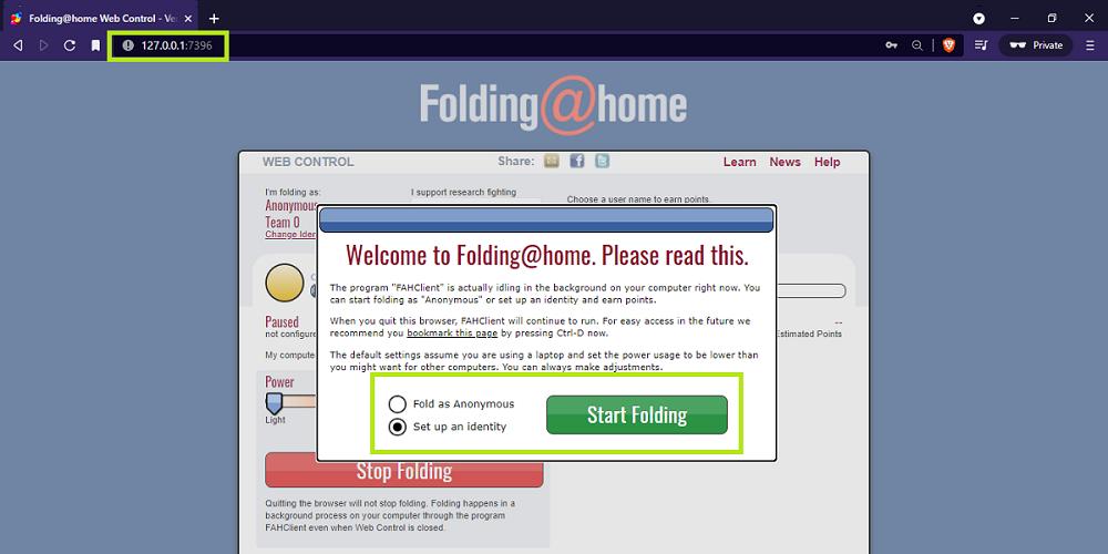 Start foldingathome