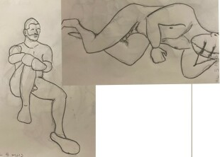 Paul sitting and laying on his side - two 5-minute timed pencil sketches