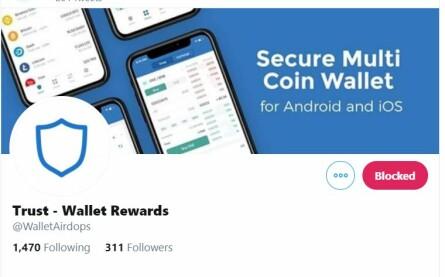 Scammed Trust Wallet twitter account
