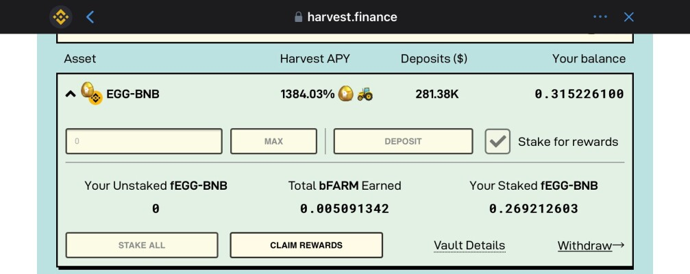 egg-bnb farm on harvest finance