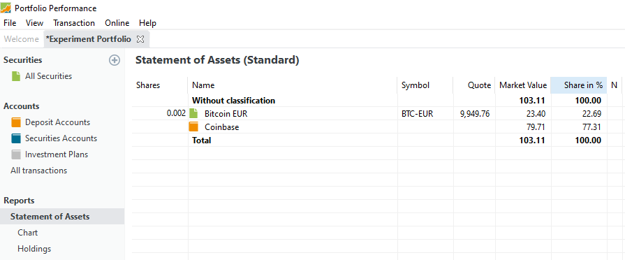 Statement of Assets after buying Bitcoin