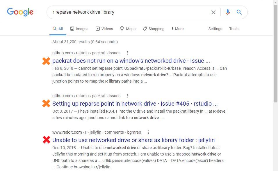 R reparse error Google