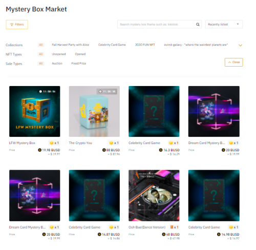 You can filter for unopened mystery boxes available for sale in the secondary market if you missed the original listing