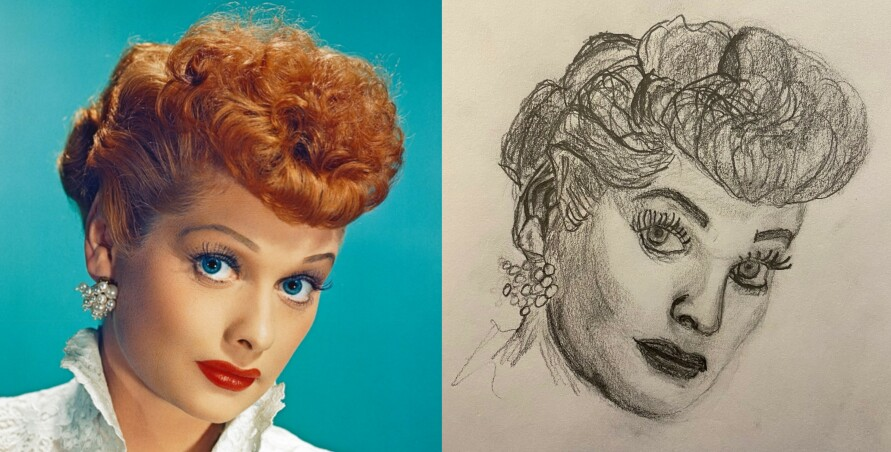 Colorized glamor photo of Lucille Ball compared to pencil portrait