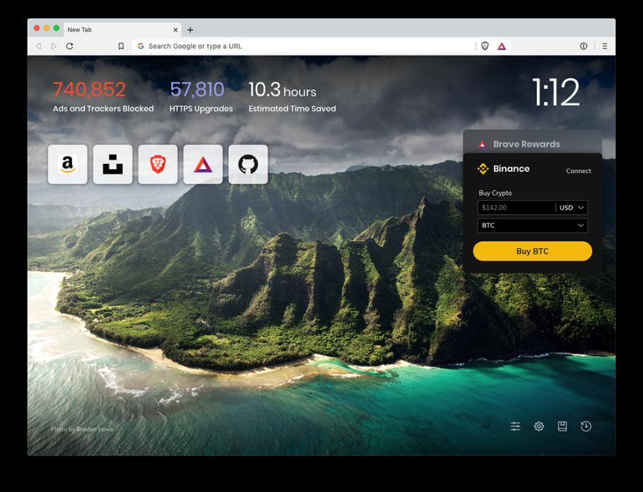 Balance widget on Brave browser new tab page