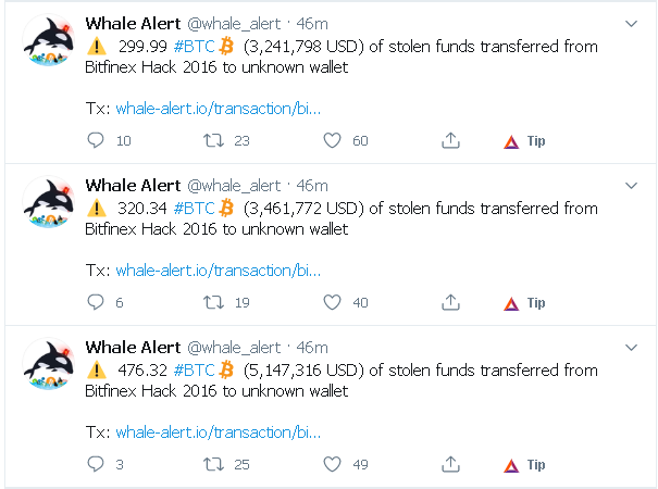 The last three transactions of stolen funds, via whale alert twitter