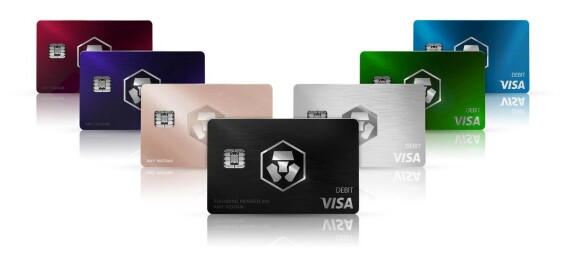 Crypto.com Crypto Debit Cards: Ruby Steel, Royal Indigo, Rose Gold, Obsidian, Icy White, Jade Green, and Midnight Blue