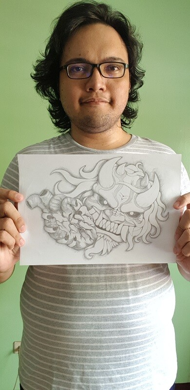 Filipino Crypto Artist Holding Pencil Art Masterpiece