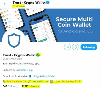 Official Trust Wallet Twitter account