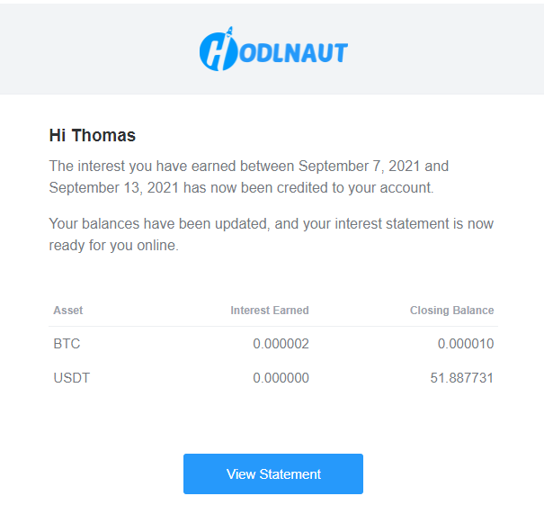 HODLN Email Statement Example