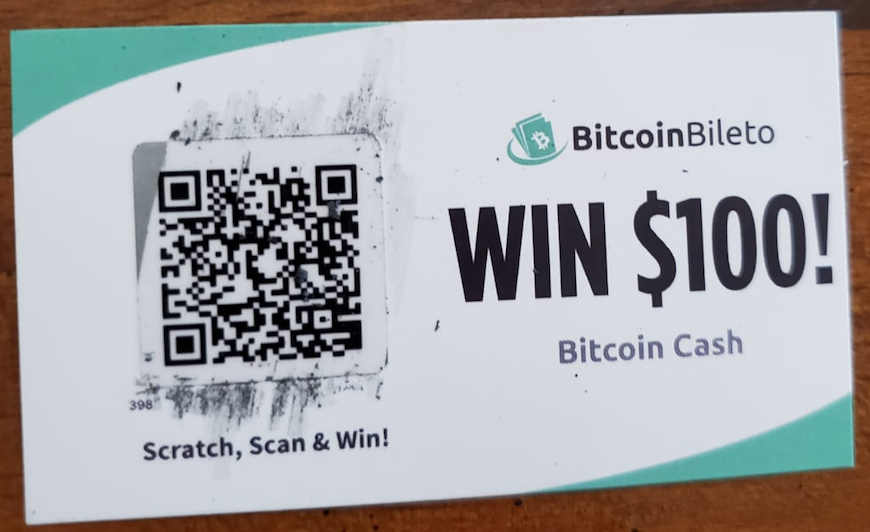 This is the BitcoinBileto scratchcard