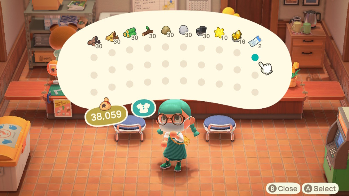 Some common stacks, alongside the more typical player currencies in Animal Crossing.