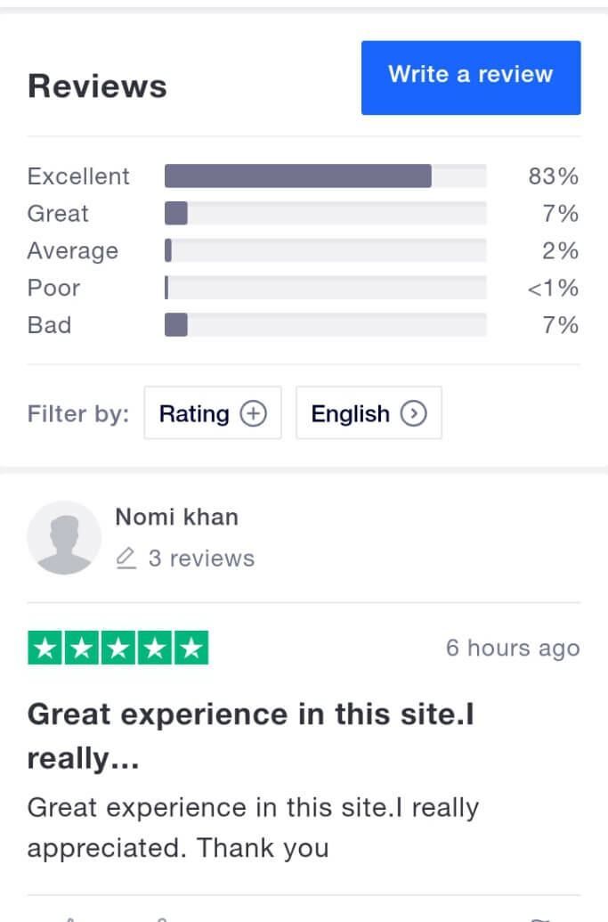 ChangeNow review on TrustPilot