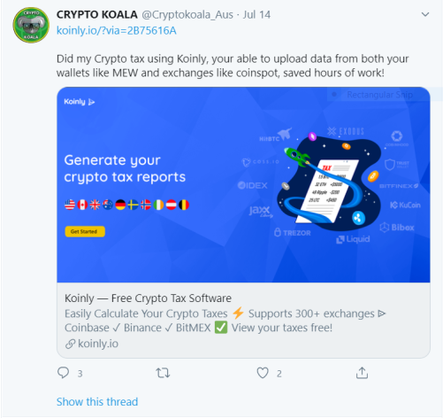 Crypto Koala Twitter Post
