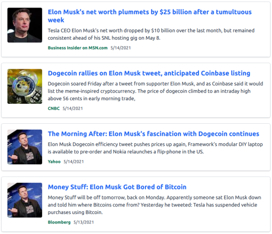 MSM Blaring away about Musk 's view of BTC and DOGE 14 May 2021 Dsearch First Fold