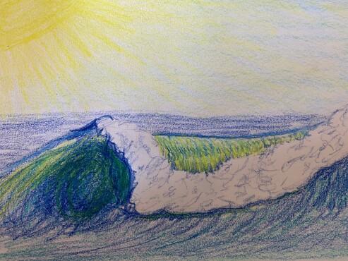 Curling ocean wave - colored pencil