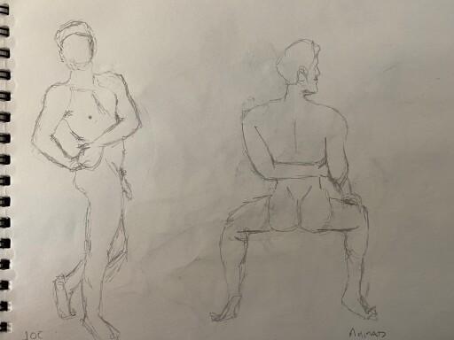 Ahmad and Joe - 5 minute solo poses - pencil sketches