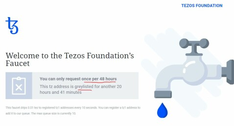 Tezos Faucet Greylisted