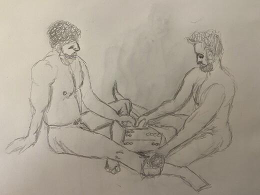 Joe and Ahmad playing backgammon - 20 minutes - pencil