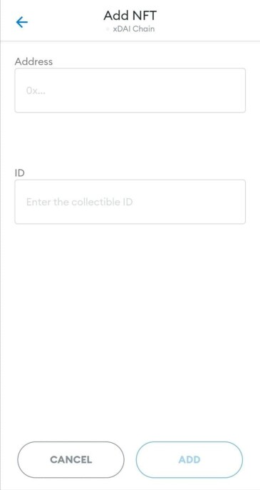 Enter the smart contract address and your token ID