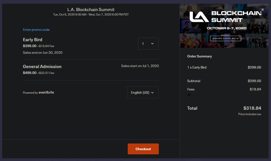 image of LA Blockchain Summit ticket price