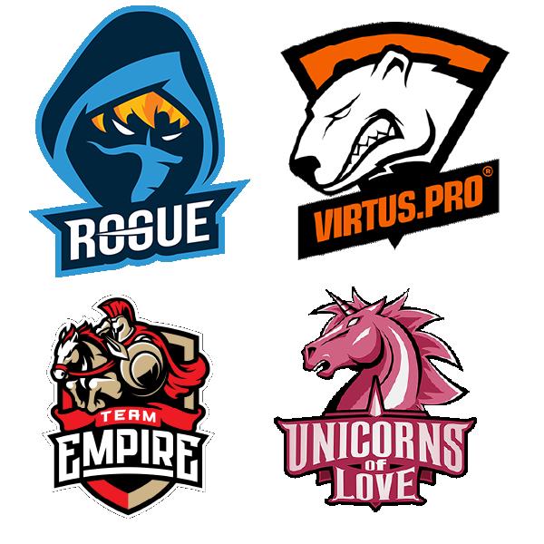 Esports Mascot team logos Rogue VirtusPro Empire Unicorns of Love