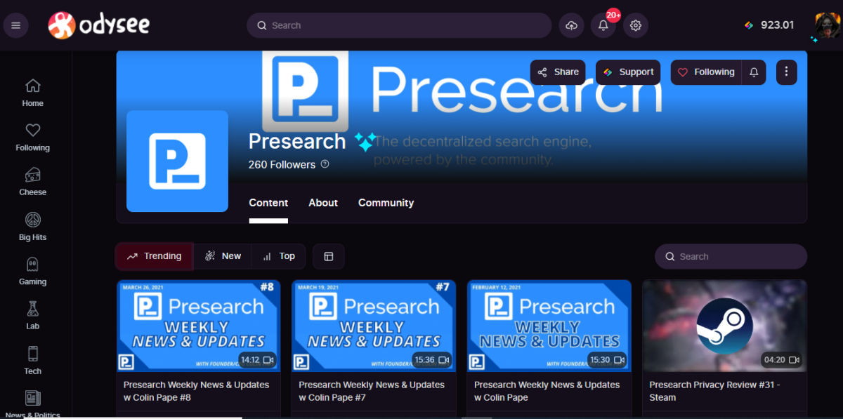 Presearch Odysee