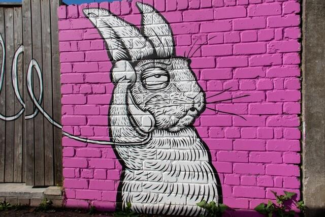 white rabbit using telephone graphitti