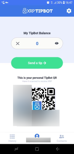 In-app screenshot featuring the balance (0) and the user's QR code