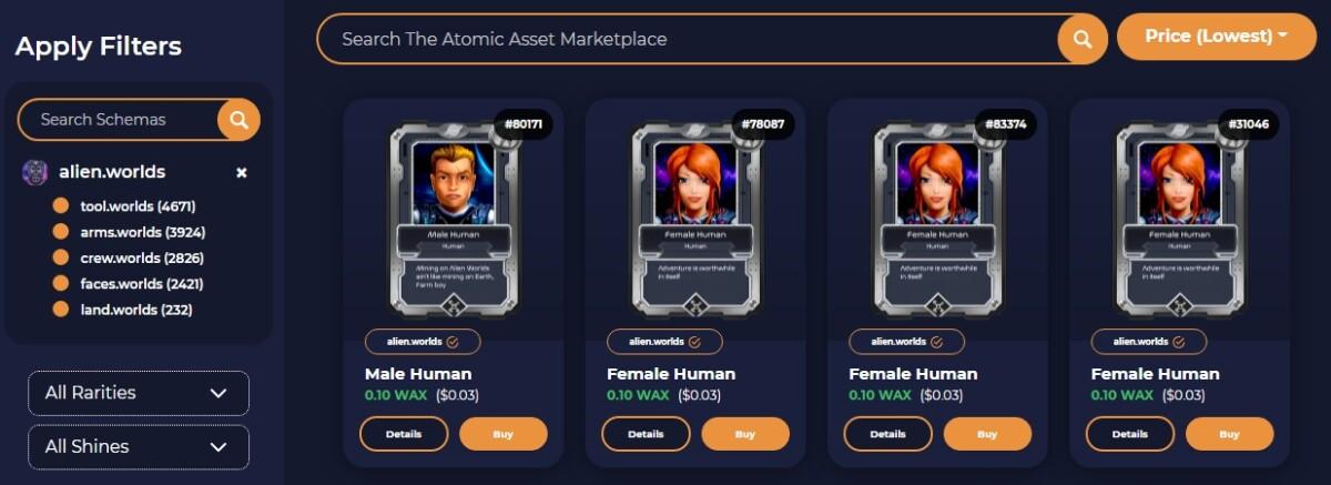 Atomic Assets Marketplace 3/30/2021
