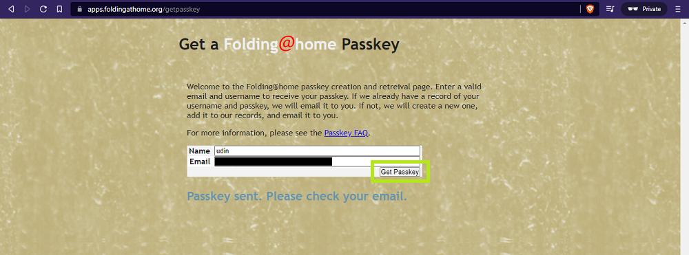 get passkey - Foldingathome - udinxyz