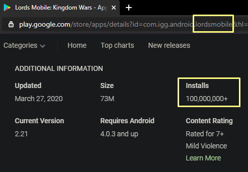 image of Lords Mobile install counts on GooglePlay
