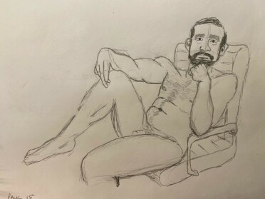 Paul in office chair - 15-minute timed pencil sketch