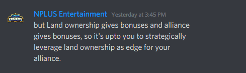 image of NPLUS Entertainment clarify bonuses on LAND and alliance