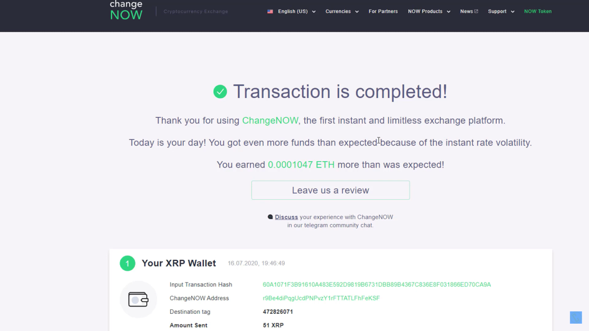 Transaction Completed At ChangeNOW