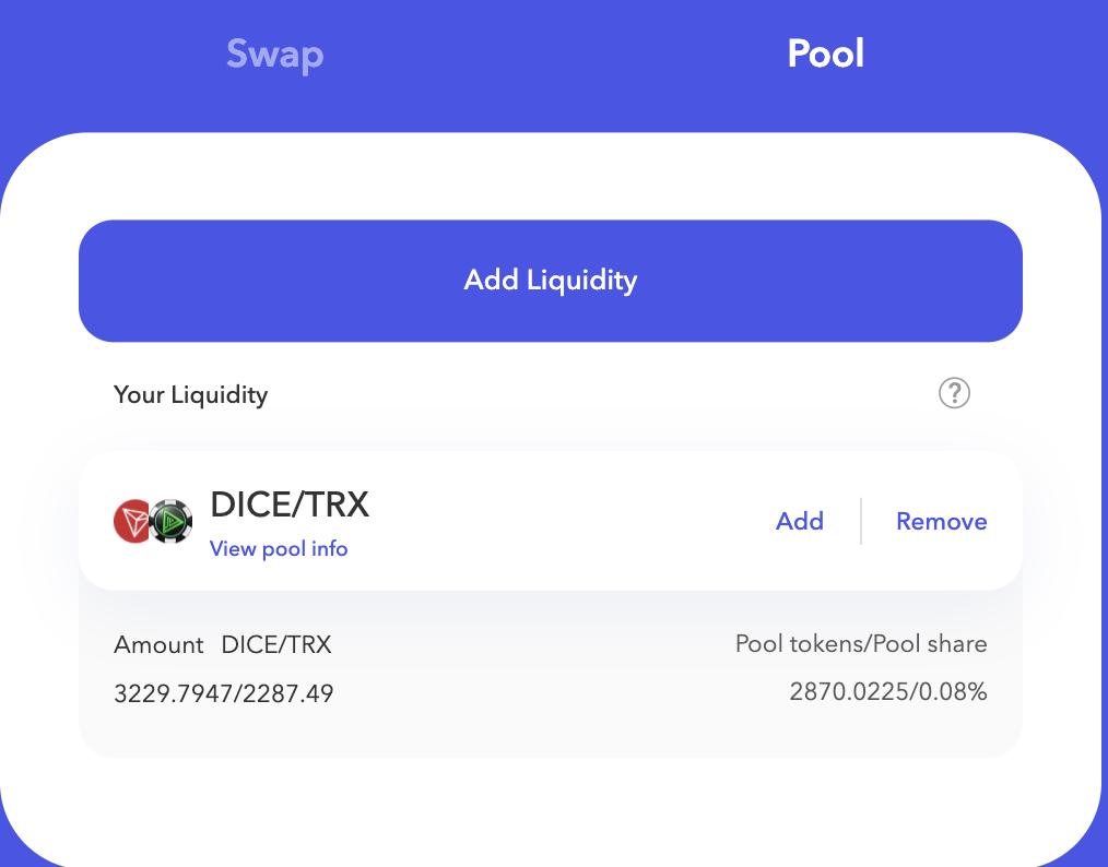 Justswap liquidity pool